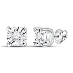 1/20 CTW Womens Round Diamond Miracle Solitaire Earrings 10kt White Gold - REF-8R3X