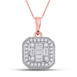1/4 CTW Womens Baguette Diamond Cushion Cluster Pendant 14kt Rose Gold - REF-32N6A