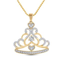 1/6 CTW Womens Round Diamond Crown Tiara Fashion Pendant 10kt Yellow Gold - REF-21W8H