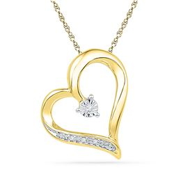 0.01 CTW Womens Round Diamond Heart Pendant 10kt Yellow Gold - REF-10F9W