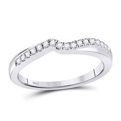 1/8 CTW Womens Round Diamond Contoured Enhancer Wedding Band Ring 10kt White Gold - REF-21R8X