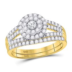 1 CTW Round Diamond Bridal Wedding Ring 14kt Yellow Gold - REF-78M5F