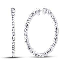 1 & 1/2 CTW Womens Round Diamond Slender Single Row Hoop Earrings 14kt White Gold - REF-167R2X
