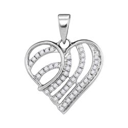 1/4 CTW Womens Round Diamond Heart Pendant 10kt White Gold - REF-15V2Y