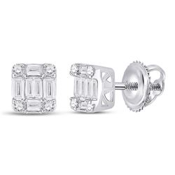 3/8 CTW Womens Baguette Diamond Fashion Cluster Earrings 14kt White Gold - REF-43W2H