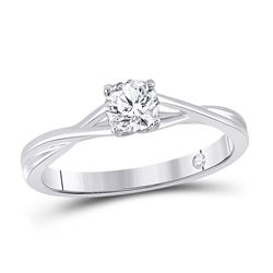 1/2 CTW Womens Round Diamond Solitaire Bridal Wedding Engagement Ring 14kt White Gold - REF-88M5F