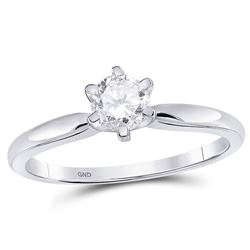1/2 CTW Womens Round Diamond Solitaire Bridal Wedding Engagement Ring 14kt White Gold - REF-111A2M
