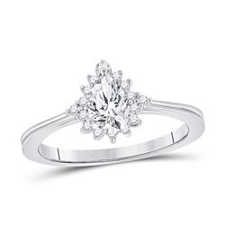 5/8 CTW Pear Diamond Solitaire Bridal Wedding Engagement Ring 14kt White Gold - REF-152N3A
