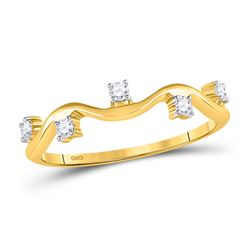 1/8 CTW Womens Round Diamond Wave Stackable Band Ring 10kt Yellow Gold - REF-19Y2N