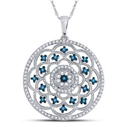1/2 CTW Womens Round Blue Color Enhanced Diamond Circle Pendant 10kt White Gold - REF-40A8M