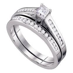 1/2 CTW Princess Diamond Bridal Wedding Ring Band Set 10kt White Gold - REF-45W7H