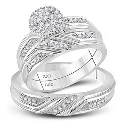 3/8 CTW His Hers Round Diamond Cluster Matching Wedding Set 14kt White Gold - REF-68X2T