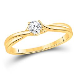 1/4 CTW Womens Round Diamond Solitaire Bridal Wedding Engagement Ring 14kt Yellow Gold - REF-40N8A