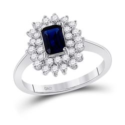1 & 1/3 CTW Womens Emerald Lab-Created Blue Sapphire Solitaire Ring 10kt White Gold - REF-20R5X
