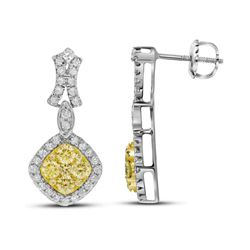 1 & 1/3 CTW Womens Round Yellow Diamond Offset Square Dangle Earrings 14kt White Gold - REF-154F3W