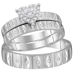 1/4 CTW His Hers Round Diamond Heart Matching Wedding Set 14kt White Gold - REF-71R6X
