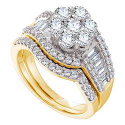 2 CTW Round Diamond Cluster Bridal Wedding Ring 14kt Yellow Gold - REF-221F6W