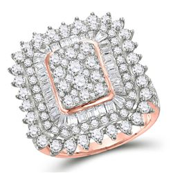 3 & 1/2 CTW Womens Round Baguette Diamond Cluster Ring 10kt Rose Gold - REF-218Y2N