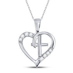1/20 CTW Womens Round Diamond Nested Cross Heart Pendant 10kt White Gold - REF-8A3M