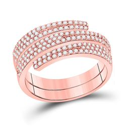 5/8 CTW Womens Round Diamond Right-Hand Fashion Ring 14kt Rose Gold - REF-54A5M
