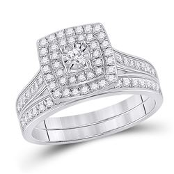 1/2 CTW Round Diamond Halo Bridal Wedding Ring Band Set 10kt White Gold - REF-53Y3N