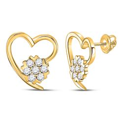 1/5 CTW Womens Round Diamond Heart Earrings 10kt Yellow Gold - REF-25N9A