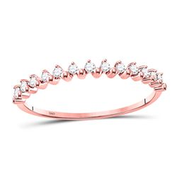 1/8 CTW Womens Round Diamond Stackable Band Ring 10kt Rose Gold - REF-13H2R