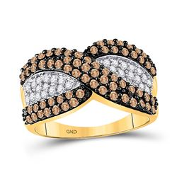 1 CTW Womens Round Brown Diamond Crossover Stripe Band Ring 10kt Yellow Gold - REF-36F2W