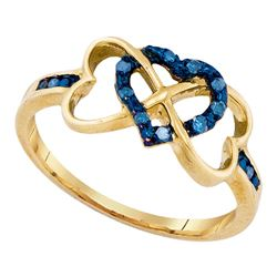1/10 CTW Womens Round Blue Color Enhanced Diamond Triple Trinity Heart Ring 10kt Yellow Gold - REF-1