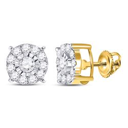 1/2 CTW Womens Round Diamond Halo Earrings 10kt Yellow Gold - REF-34R3X
