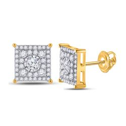 1/2 CTW Womens Round Diamond Square Earrings 10kt Yellow Gold - REF-36Y7N