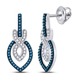 1/3 CTW Womens Round Blue Color Enhanced Diamond Dangle Earrings 10kt White Gold - REF-27W3H