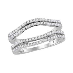 1/2 CTW Womens Round Diamond Solitaire Enhancer Wedding Band Ring 14kt White Gold - REF-68M2F