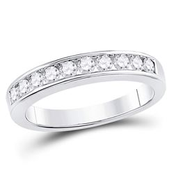 1/2 CTW Womens Round Channel-set Diamond Wedding Band Ring 14kt White Gold - REF-66N2A