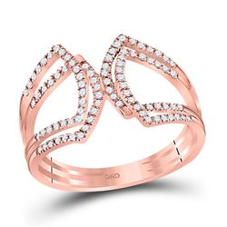 1/4 CTW Womens Round Diamond Modern Fashion Band Ring 10kt Rose Gold - REF-20V5Y