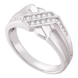 1/5 CTW Mens Round Diamond Fashion Ring 14kt White Gold - REF-47V6Y