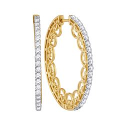 1 CTW Womens Round Diamond Single Row Luxury Hoop Earrings 10kt Yellow Gold - REF-81T7V