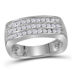 1/2 CTW Mens Round Diamond Triple Row Wedding Anniversary Band Ring 10kt White Gold - REF-63A5M
