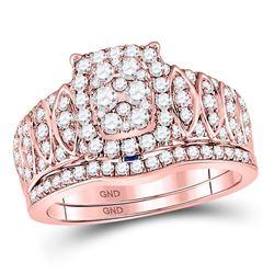 1 CTW Round Diamond Bridal Wedding Ring 14kt Rose Gold - REF-102M3F