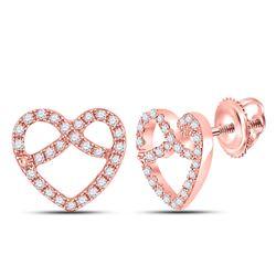 1/6 CTW Womens Round Diamond Pretzel Heart Earrings 10kt Rose Gold - REF-12T2V