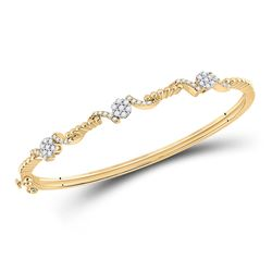 1/2 CTW Womens Round Diamond Bangle Bracelet 14kt Yellow Gold - REF-106H3R