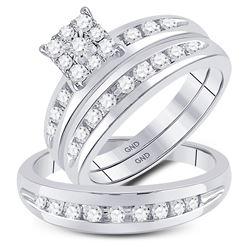 1/2 CTW His Hers Round Diamond Solitaire Matching Wedding Set 10kt White Gold - REF-51F2W