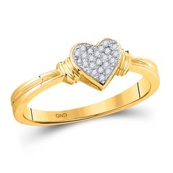 1/12 CTW Womens Round Diamond Simple Heart Cluster Ring 10kt Yellow Gold - REF-15W5H