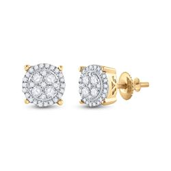 1/4 CTW Womens Round Diamond Cluster Earrings 10kt Yellow Gold - REF-25V9Y