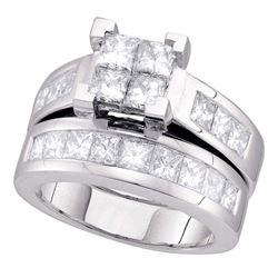 3 CTW Princess Diamond Bridal Wedding Ring 14kt White Gold - REF-422H6R
