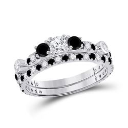1 CTW Round Diamond 3-Stone Bridal Wedding Ring 14kt White Gold - REF-65R4X