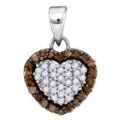 1/3 CTW Womens Round Brown Diamond Heart Frame Pendant 10kt White Gold - REF-13R5X