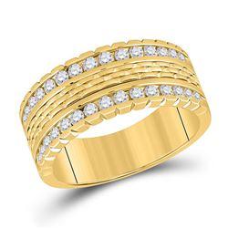 1 CTW Mens Round Diamond Wedding Band Ring 14kt Yellow Gold - REF-160F3W