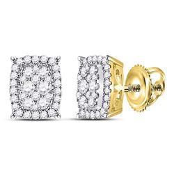 1/2 CTW Womens Round Diamond Rectangular Cluster Earrings 14kt Yellow Gold - REF-47T6V