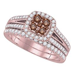 1 CTW Womens Round Brown Diamond Bridal Wedding Ring 14kt Yellow Gold - REF-119X2T
